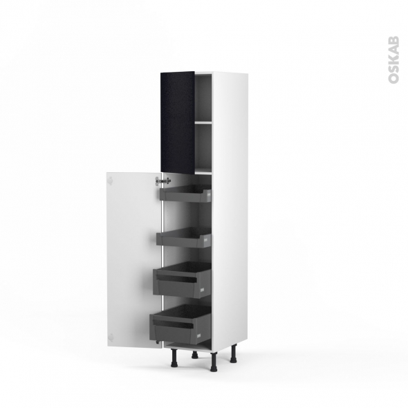 Colonne de cuisine N°1926 - Armoire de rangement - GINKO Noir - 4 tiroirs à l'anglaise - L40 x H195 x P58 cm