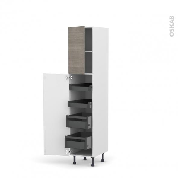 Colonne de cuisine N°1926 - Armoire de rangement - STILO Noyer Naturel - 4 tiroirs à l'anglaise - L40 x H195 x P58 cm