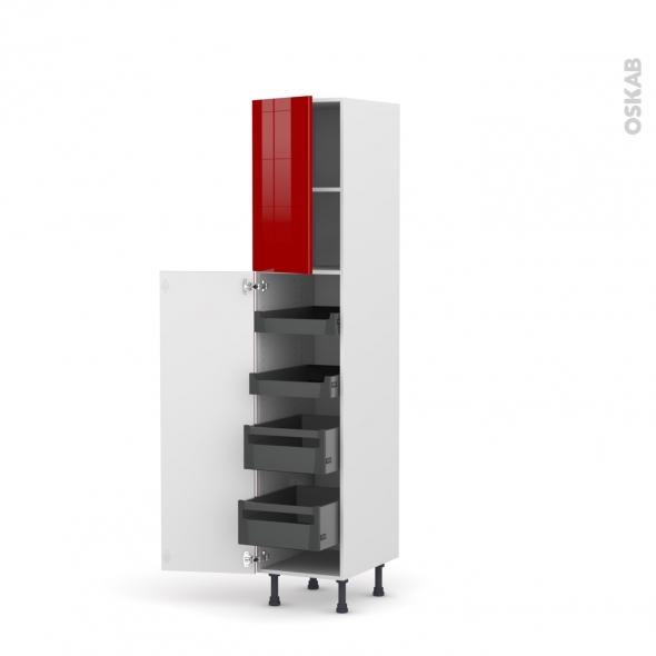 STECIA Rouge - Armoire rangement N°1926 - 4 tiroirs à l'anglaise- L40xH195xP58