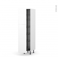 Colonne de cuisine N°2619 - Armoire de rangement - IRIS Blanc - 6 paniers plateaux - L40 x H195 x P58 cm