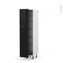 Colonne de cuisine N°2619 - Armoire de rangement - GINKO Noir - 6 paniers plateaux - L40 x H195 x P58 cm