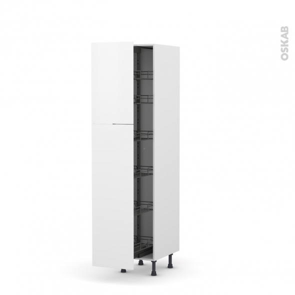 Colonne de cuisine N°2619 - Armoire de rangement - GINKO Blanc - 6 paniers plateaux - L40 x H195 x P58 cm