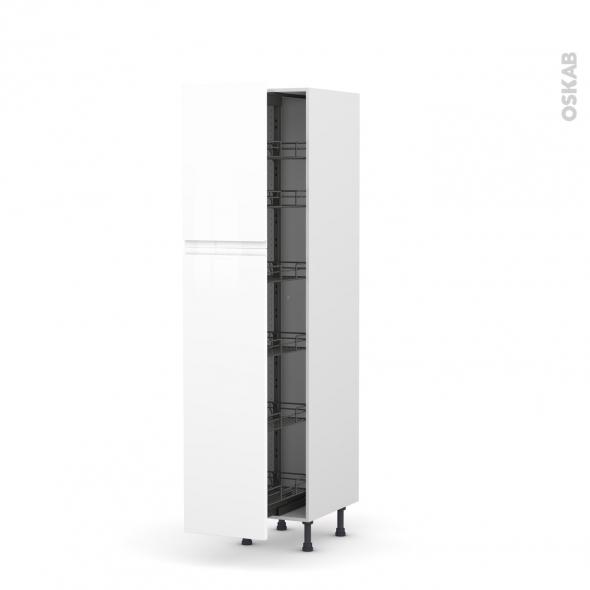 Colonne de cuisine N°2619 - Armoire de rangement - IPOMA Blanc - 6 paniers plateaux - L40 x H195 x P58 cm
