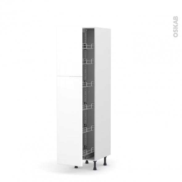 IRIS Blanc - Armoire rangement N°2619  - 6 paniers plateaux - L40xH195xP58