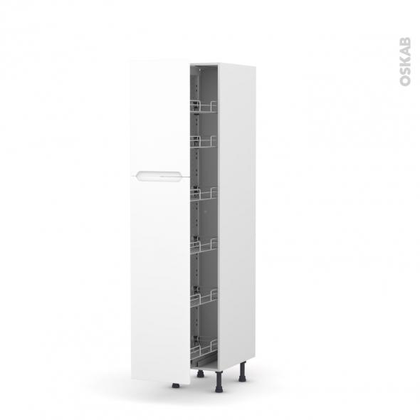 PIMA Blanc - Armoire rangement N°2619  - 6 paniers plateaux - L40xH195xP58