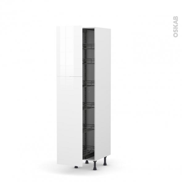 Colonne de cuisine N°2619 - Armoire de rangement - STECIA Blanc - 6 paniers plateaux - L40 x H195 x P58 cm