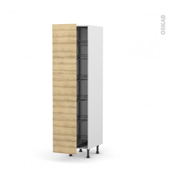 Colonne de cuisine N°2619 - Armoire de rangement - HOSTA Chêne naturel - 6 paniers plateaux - L40 x H195 x P58 cm