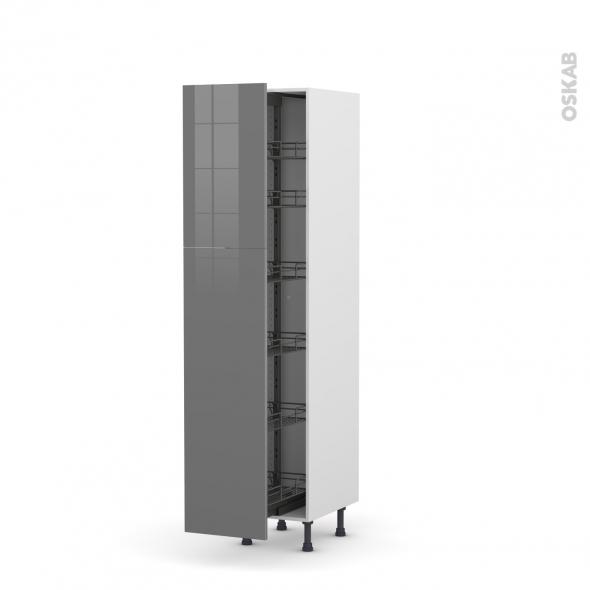 Colonne de cuisine N°2619 - Armoire de rangement - STECIA Gris - 6 paniers plateaux - L40 x H195 x P58 cm