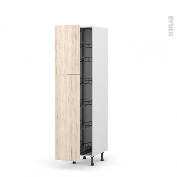 Colonne de cuisine N°2619 - Armoire de rangement - IKORO Chêne clair - 6 paniers plateaux - L40 x H195 x P58 cm