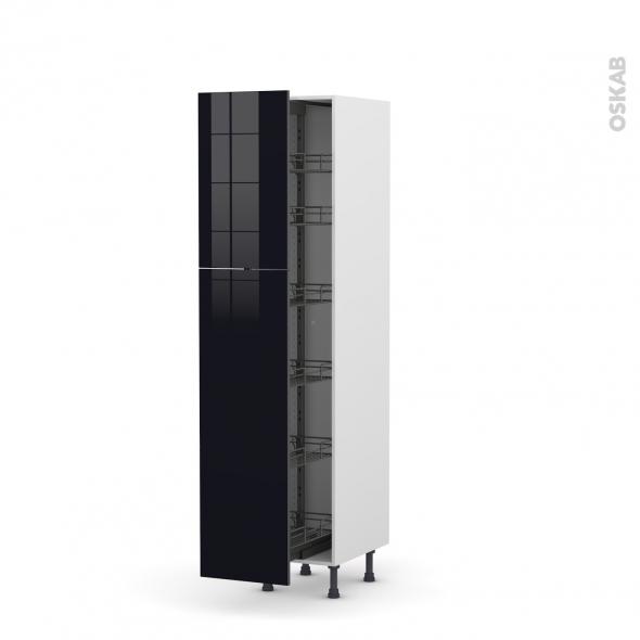 Colonne de cuisine N°2619 - Armoire de rangement - KERIA Noir - 6 paniers plateaux - L40 x H195 x P58 cm
