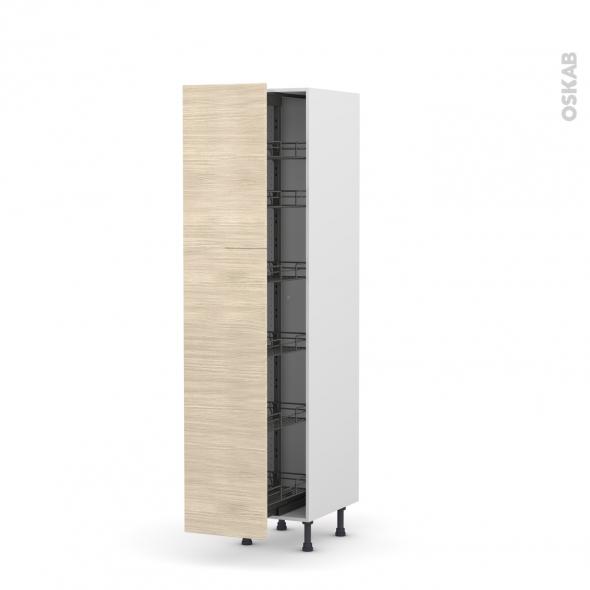 Colonne de cuisine N°2619 - Armoire de rangement - STILO Noyer Blanchi - 6 paniers plateaux - L40 x H195 x P58 cm