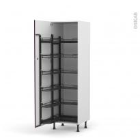 Colonne de cuisine N°2721 - Armoire de rangement - KERIA Aubergine - 12 paniers plateaux - L60 x H195 x P58 cm