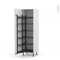 Colonne de cuisine N°2721 - Armoire de rangement - KERIA Bleu - 12 paniers plateaux - L60 x H195 x P58 cm