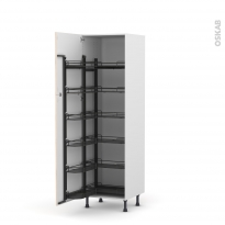 Colonne de cuisine N°2721 - Armoire de rangement - IKORO Chêne clair - 12 paniers plateaux - L60 x H195 x P58 cm