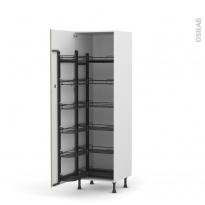 Colonne de cuisine N°2721 - Armoire de rangement - GINKO Taupe - 12 paniers plateau - L60 x H195 x P58 cm