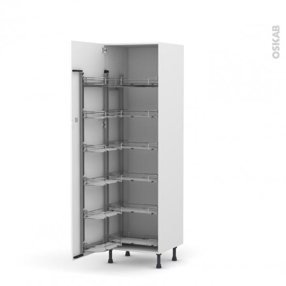 IRIS Blanc - Armoire rangement N°2721  - 12 paniers plateaux - L60xH195xP58