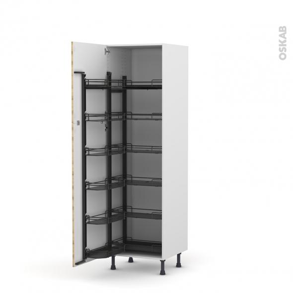 Colonne de cuisine N°2721 - Armoire de rangement ouvrante - HOSTA Chêne naturel - 12 paniers plateaux - L60 x H195 x P58 cm