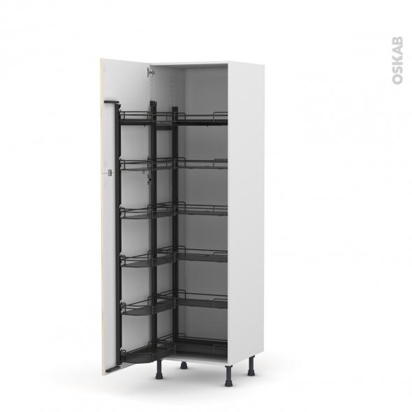 IKORO Chêne clair - Armoire rangement N°2721  - 12 paniers plateaux - L60xH195xP58