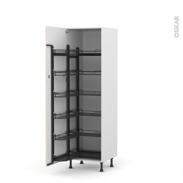 Colonne de cuisine N°2721 - Armoire de rangement ouvrante - KERIA Ivoire - 12 paniers plateaux - L60 x H195 x P58 cm