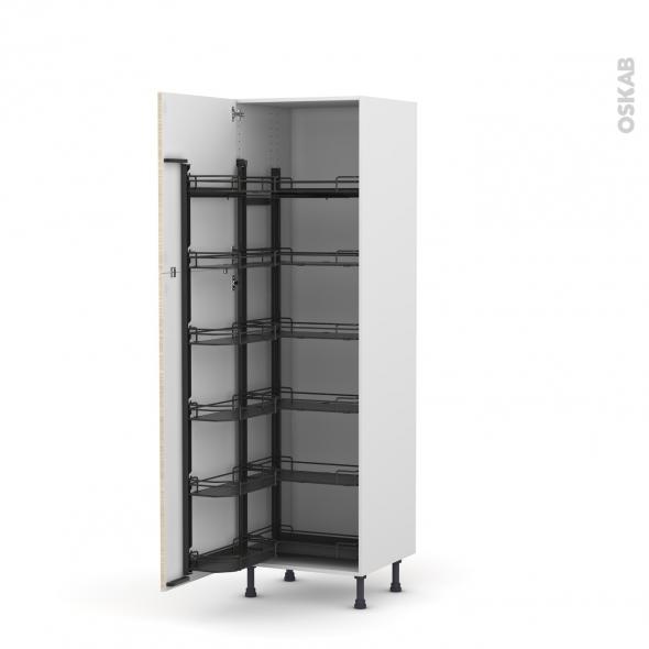Colonne de cuisine N°2721 - Armoire de rangement - STILO Noyer Blanchi - 12 paniers plateaux - L60 x H195 x P58 cm
