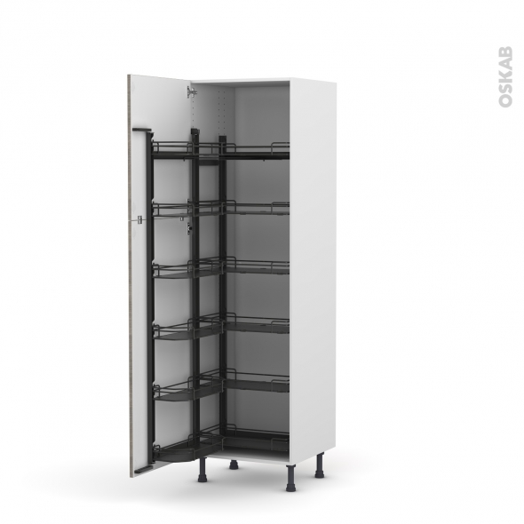 Colonne de cuisine N°2721 - Armoire de rangement - STILO Noyer Naturel - 12 paniers plateaux - L60 x H195 x P58 cm