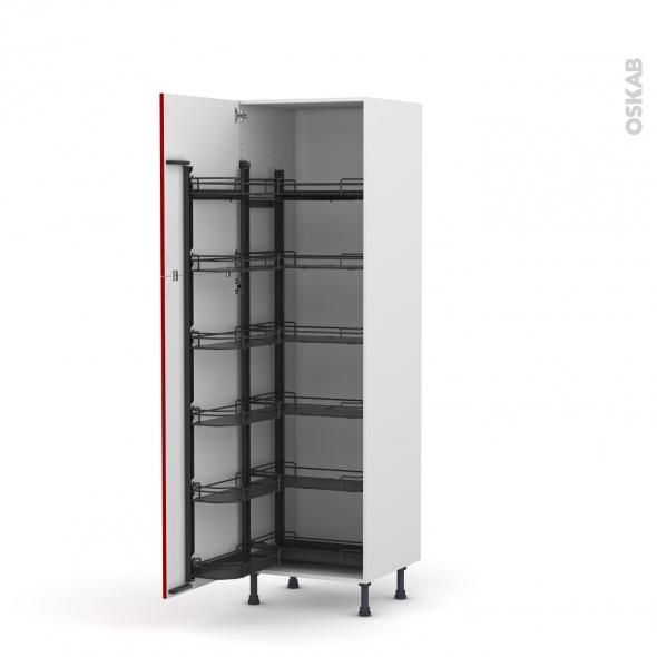 Colonne de cuisine N°2721 - Armoire de rangement - STECIA Rouge - 12 paniers plateaux - L60 x H195 x P58 cm