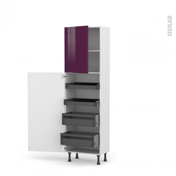 Colonne de cuisine N°2127 - Armoire de rangement - KERIA Aubergine - 4 tiroirs à l'anglaise - L60 x H195 x P37 cm