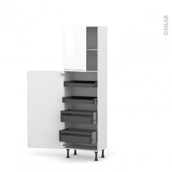Colonne de cuisine N°2127 - Armoire de rangement - IPOMA Blanc brillant - 4 tiroirs à l'anglaise - L60 x H195 x P37 cm