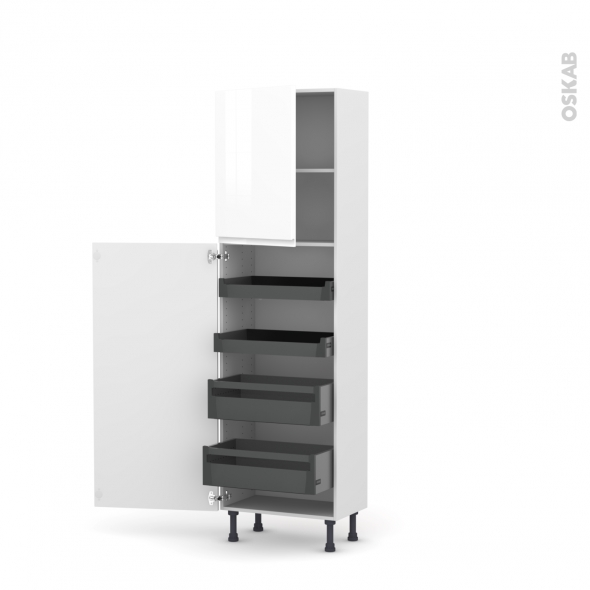 IPOMA Blanc - Armoire rangement N°2127 - 4 tiroirs à l'anglaise - L60xH195xP37