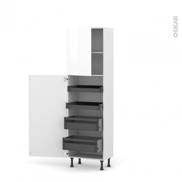 Colonne de cuisine N°2127 - Armoire de rangement - IRIS Blanc - 4 tiroirs à l'anglaise - L60 x H195 x P37 cm