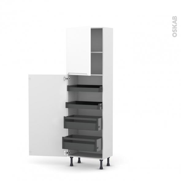 PIMA Blanc - Armoire rangement N°2127 - 4 tiroirs à l'anglaise - L60xH195xP37