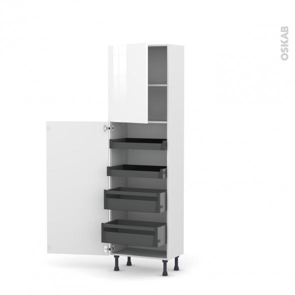 Colonne de cuisine N°2127 - Armoire de rangement - STECIA Blanc - 4 tiroirs à l'anglaise - L60 x H195 x P37 cm