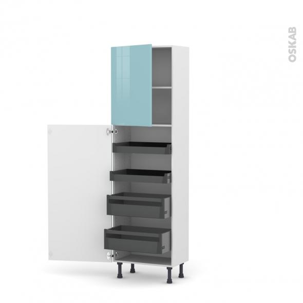 Colonne de cuisine N°2127 - Armoire de rangement - KERIA Bleu - 4 tiroirs à l'anglaise - L60 x H195 x P37 cm