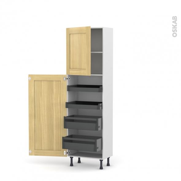 BASILIT Bois brut - Armoire rangement N°2127 - 4 tiroirs à l'anglaise - L60xH195xP37