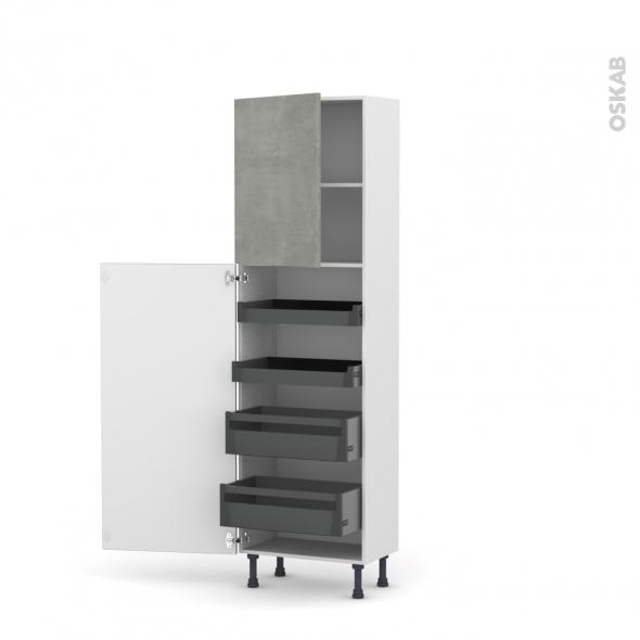 Colonne de cuisine N°2127 - Armoire de rangement - FAKTO Béton - 4 tiroirs à l'anglaise - L60 x H195 x P37 cm