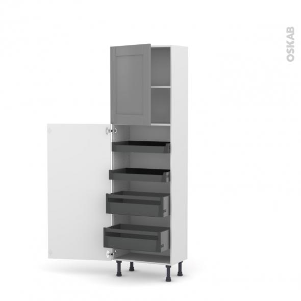 Colonne de cuisine N°2127 - Armoire de rangement - FILIPEN Gris - 4 tiroirs à l'anglaise - L60 x H195 x P37 cm
