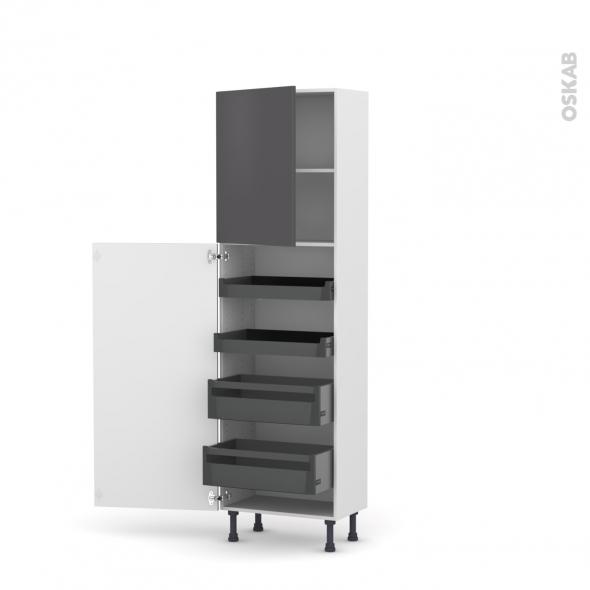 Colonne de cuisine N°2127 - Armoire de rangement - GINKO Gris - 4 tiroirs à l'anglaise - L60 x H195 x P37 cm