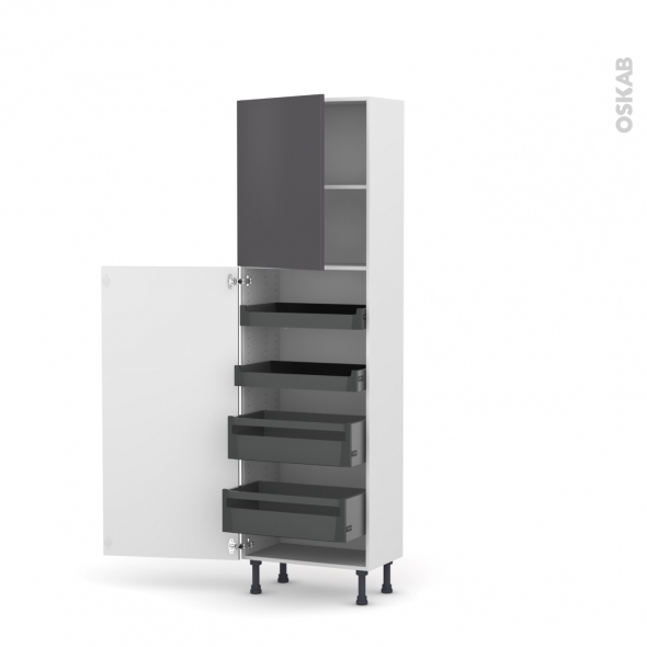 GINKO Gris - Armoire rangement N°2127 - 4 tiroirs à l'anglaise - L60xH195xP37