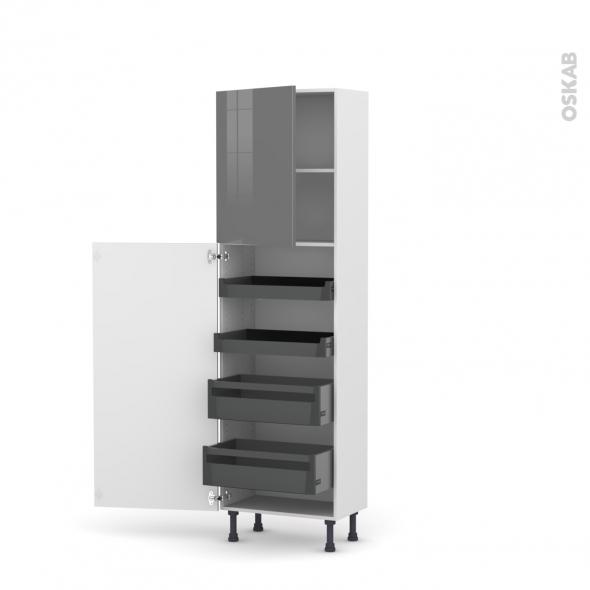 Colonne de cuisine N°2127 - Armoire de rangement - STECIA Gris - 4 tiroirs à l'anglaise - L60 x H195 x P37 cm