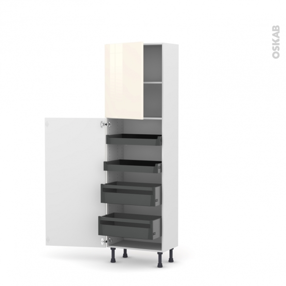 Colonne de cuisine N°2127 - Armoire de rangement - KERIA Ivoire - 4 tiroirs à l'anglaise - L60 x H195 x P37 cm