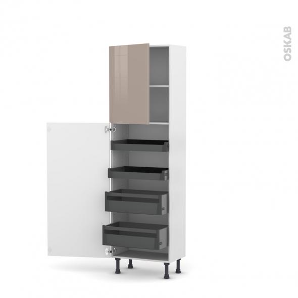 Colonne de cuisine N°2127 - Armoire de rangement - KERIA Moka - 4 tiroirs à l'anglaise - L60 x H195 x P58 cm