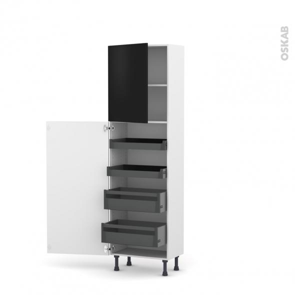 Colonne de cuisine N°2127 - Armoire de rangement - GINKO Noir - 4 tiroirs à l'anglaise - L60 x H195 x P37 cm