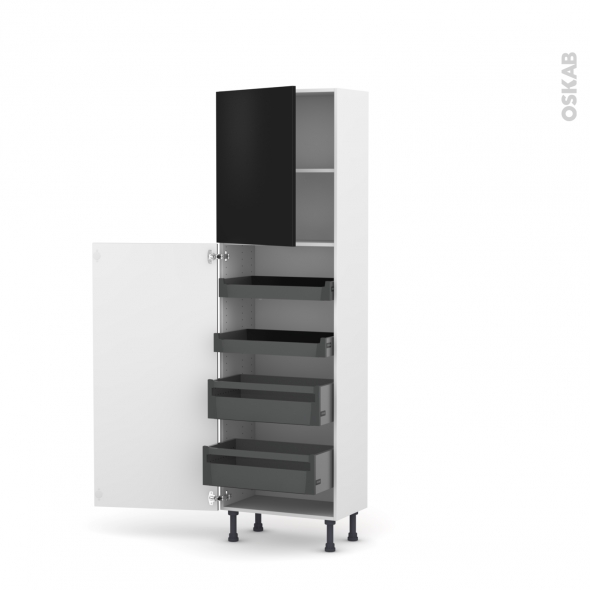 GINKO Noir - Armoire rangement N°2127 - 4 tiroirs à l'anglaise - L60xH195xP37