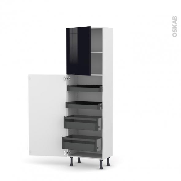 Colonne de cuisine N°2127 - Armoire de rangement - KERIA Noir - 4 tiroirs à l'anglaise - L60 x H195 x P58 cm