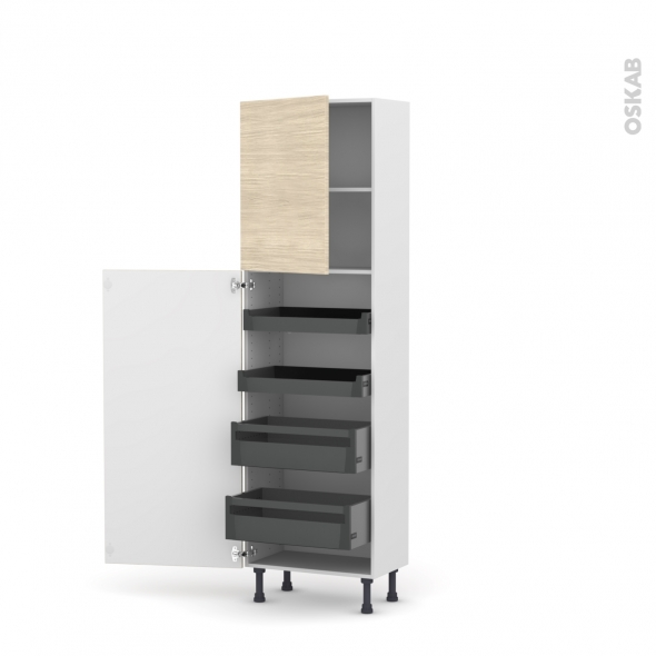 Colonne de cuisine N°2127 - Armoire de rangement - STILO Noyer Blanchi - 4 tiroirs à l'anglaise - L60 x H195 x P37 cm