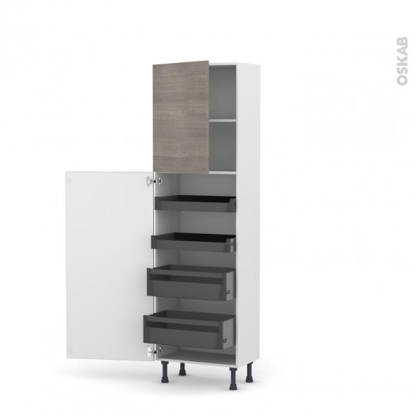 Colonne de cuisine N°2127 - Armoire de rangement - STILO Noyer Naturel - 4 tiroirs à l'anglaise - L60 x H195 x P37 cm