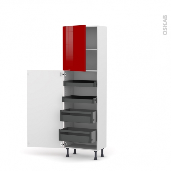Colonne de cuisine N°2127 - Armoire de rangement - STECIA Rouge - 4 tiroirs à l'anglaise - L60 x H195 x P37 cm