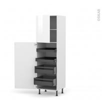 Colonne de cuisine N°2127 - Armoire de rangement - STECIA Blanc - 4 tiroirs à l'anglaise - L60 x H195 x P58 cm