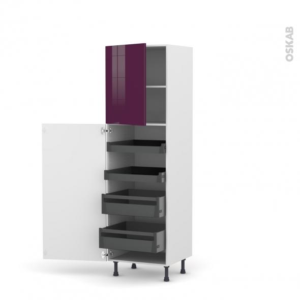 Colonne de cuisine N°2127 - Armoire de rangement - KERIA Aubergine - 4 tiroirs à l'anglaise - L60 x H195 x P58 cm