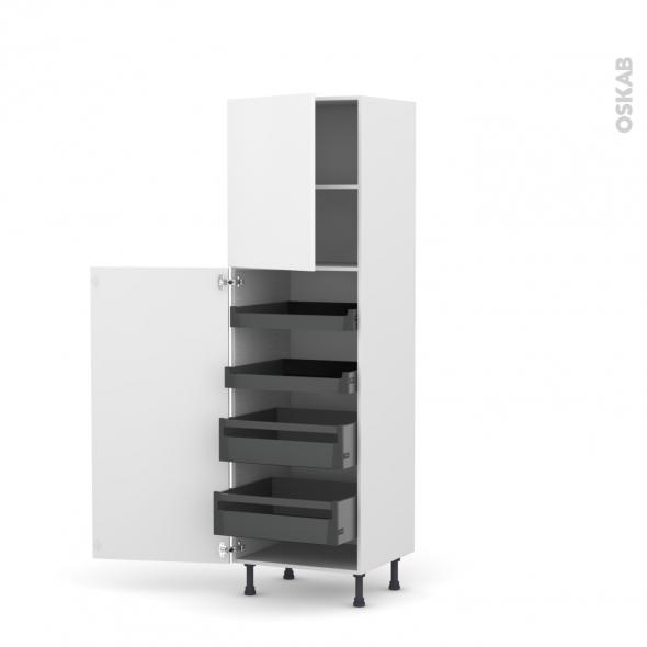 Colonne de cuisine N°2127 - Armoire de rangement - GINKO Blanc - 4 tiroirs à l'anglaise - L60 x H195 x P58 cm